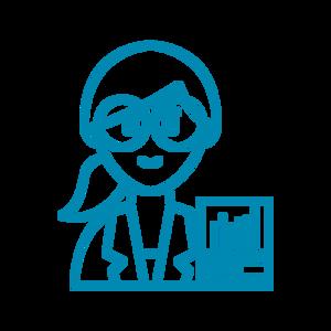Desenho de uma mulher de óculos, cabelo preso, de casaco e ao lado uma planilha (traços em azul)