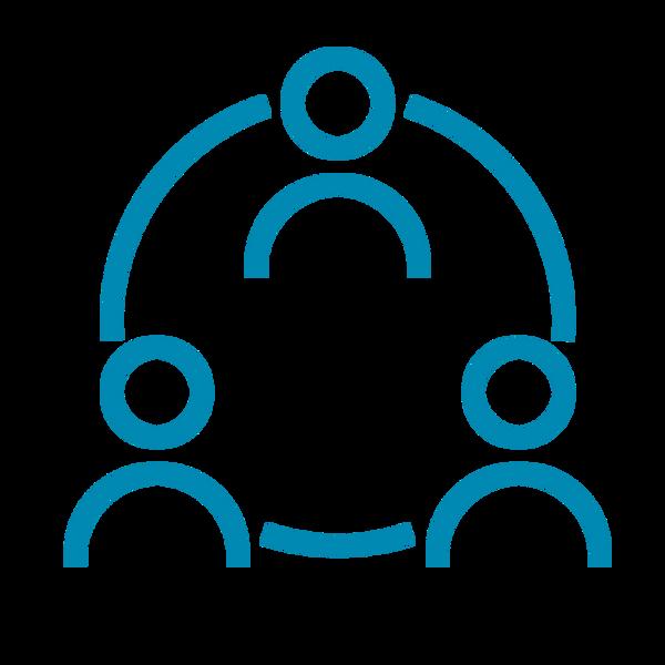 Ícone representando três pessoas - formato estilizado - conectadas através de um círculo. Traços em azul.