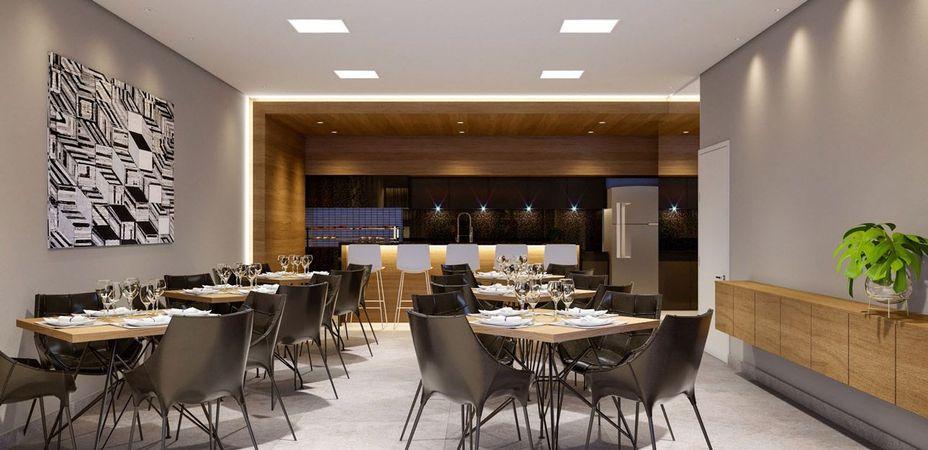 Salão de festas com espaço gourmet do empreendimento Montblanc da contrutora de alto padrão Zuckhan