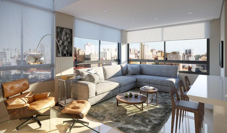 Imagem ilustrativa do living do apartamento duplex do empreendimento Match da construtora Zuckhan.