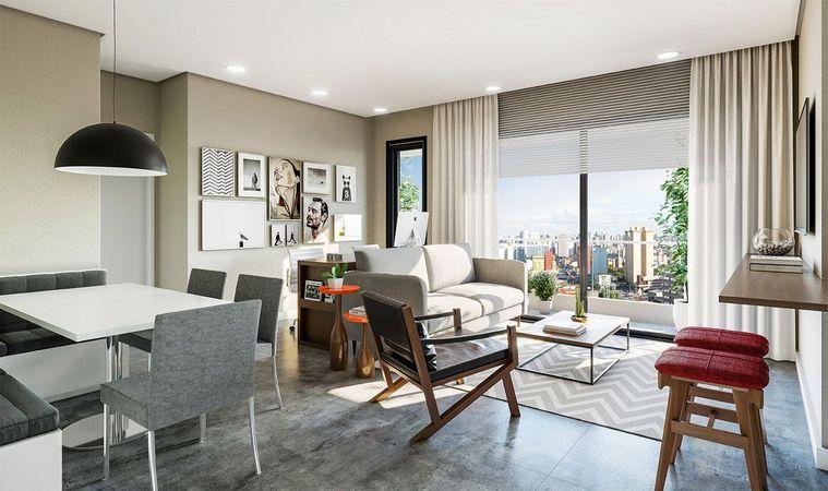 Imagem ilustrativa do living do apartamento tipo final 3 do empreendimento Match da construtora Zuckhan.