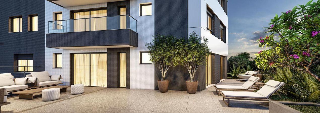 Imagem ilustrativa do terraço do apartamento garden do empreendimento Match da construtora Zuckhan.