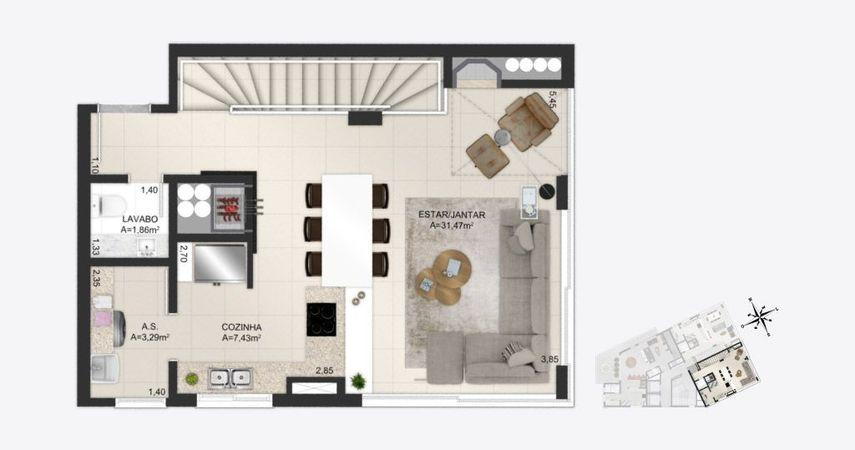Planta baixa ilustrada do pavimento superior do apartamentos duplex final 1 do empreendimento Match da construtora Zuckhan.