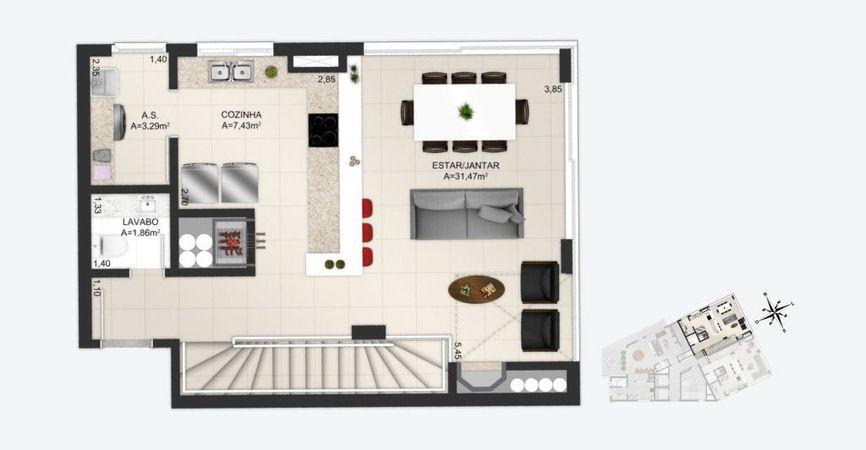 Planta baixa ilustrada do pavimento superior do apartamentos duplex final 2 do empreendimento Match da construtora Zuckhan.