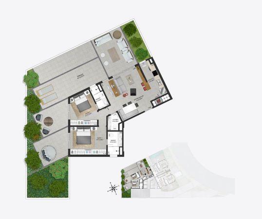 Planta baixa ilustrada do pavimento superior da cobertura duplex 1103 do empreendimento Match da construtora Zuckhan.