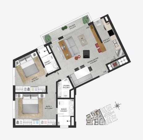 Planta baixa ilustrada do apartamento tipo final 3 do empreendimento Match da construtora Zuckhan.