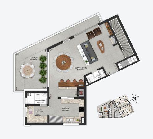Planta baixa ilustrada do pavimento inferior da cobertura duplex 1103 do empreendimento Match da construtora Zuckhan.