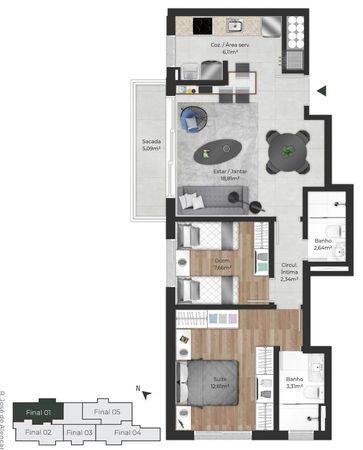 Planta do apartamento de 2 dormitórios final 01