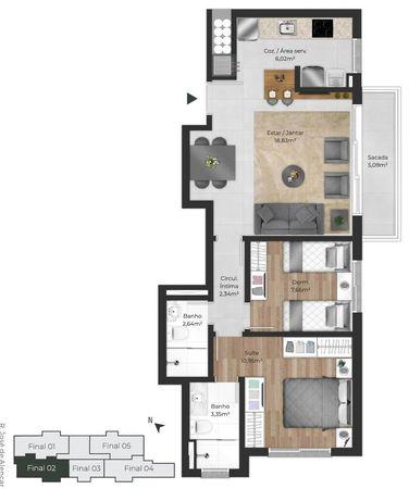 Planta do apartamento de 2 dormitórios final 02