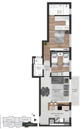 Planta do apartamento de 2 dormitórios final 04