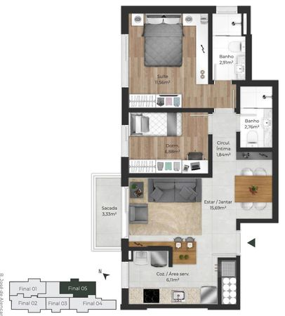 Planta do apartamento de 2 dormitórios final 05