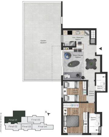 Planta do apartamento Garden de 114,26m²