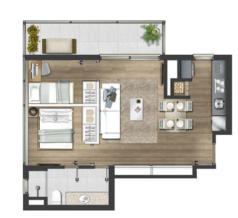 2 dormitórios 62,42m² - Tipo final 01