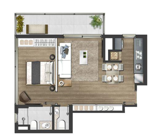 1 dormitório com suíte e lavabo 62,42m² - Tipo final 01