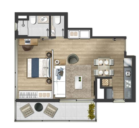 1 dormitório com suíte e lavabo 62,13m² - Tipo final 02