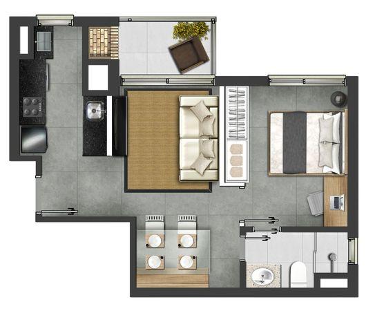 1 dormitório 45,88m² - Tipo final 03