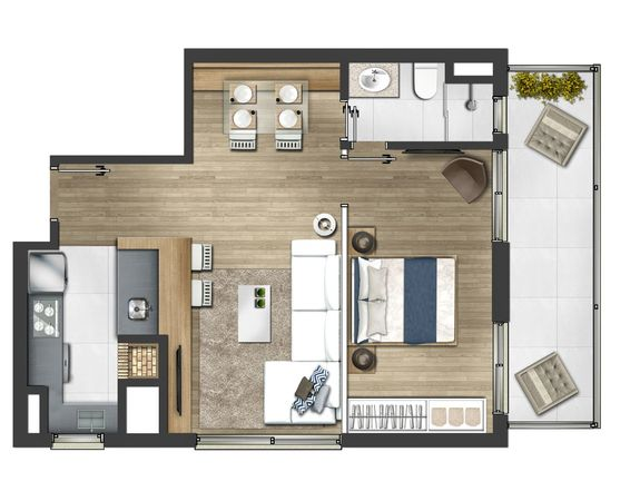 1 dormitório 60,33m² - Tipo final 04